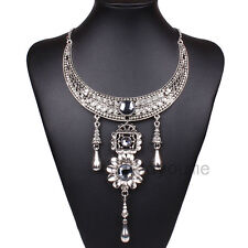 Tibet Silver Bib Statement Choker Halloween Noble Crystal Rhinestone Necklace