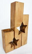 Set of 3 Handmade Star Shaped Wooden Tea Light Holders Rustic Dark Oak