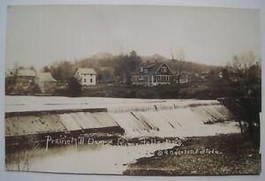 River Falls WI Prairie Mill Dam, Houses Old 1910s RPPC Postcard by Sanderson
