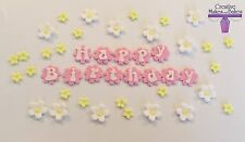Flower Shapes Happy Birthday Flowers Edible Cake Topper ANY COLOURS