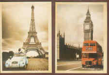 C20 Retro style Postcards London Bus/Tower of London and Citreon/Eifel Tower's