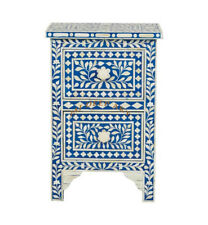 Handmade Antique Bone Inlay Blue Two Drawer Bedside Table Nightstand