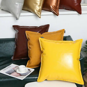 Shiny Throw Pillow Cover Cushion Case Faux Leather Solid for Couch Sofa Bed Soft