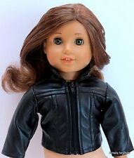 "BLACK Leather-Look DOLL JACKET COAT fits 18"" AMERICAN GIRL for ""GIRL"" DOLL A/Z"