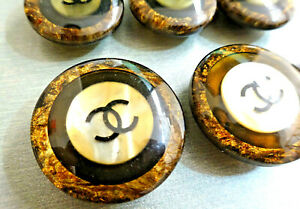 CC Buttons Set of 16 brown gold  BLACK plastic resin ROUND big Buttons round