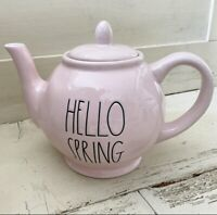 """Rae Dunn 2021 Pink Spring Teapot """"HELLO SPRING"""" NEW!  HTF! Low Shipping! 🌸🌸🌸"""