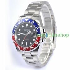 40mm Parnis Automatic mens Watch Red&Blue Bezel Sapphire Glass GMT Date Luminous