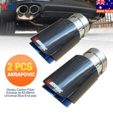 Pair 63 Inlet 89mm Outlet Glossy AKRAPOVIC Car Carbon Fiber Exhaust Tip End Pipe