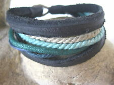 SUPERLÄSSIGES Armband schwarz blau 7er grün türkis Herren Surfer LEDER ARMBAND