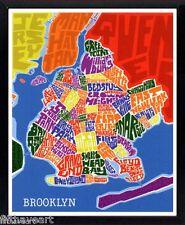 Brooklyn Map Art by James Mcdonald Poster Framed