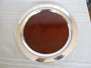 Wm A  Rogers, Oneida silver rim round tray w/wood design bottom