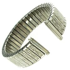 15-19mm Milano Silver Tone Stainless Steel Twist-O-Flex Metal Relief Watch Band