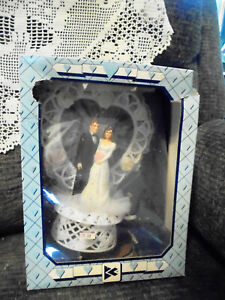 """Vintage NOS Boxed Bride and Groom Wedding Cake Topper lace beaded pearl 8"""""""