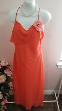 Eureka Orange Sheer Party Formal Prom Evening Dress Size 12 - 14  WC337