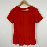Target Womens Top 10 Orange Short Sleeve Zip Closure Round Neck
