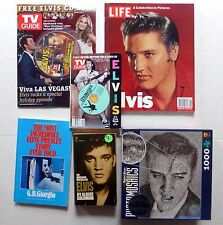 ELVIS PRESLEY lot of 7 BOOKS / Magazines & Sealed PUZZLE Lc21