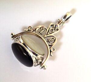 STERLING SILVER Black Onyx White Brown gemstone Swivel Pendant gents Watch Fob