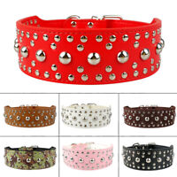 "2"" Wide Studded Dog Collar PU Leather Black Red Pink Brown White Coffee XS-L"