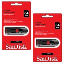 SanDisk Cruzer Glide 64GB x2=  128GB  Flash Drive USB 3.0 Thumb Memory Pen Lot2