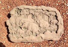 Elefant Elefanten Relief Wandbild Antik Kunst Sandstein Look Steinguß A 13 ROT