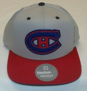 NHL Montreal Canadiens Flat Bill Snapback Hat By Reebok - Adult One Size New