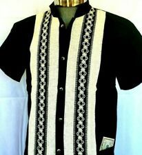 Black Mexican Guayabera Casual Shirt Cotton Manta Ivory Embroidery Buttons Down