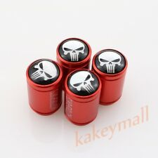 Auto Accessories Red Tire Wheel Rims Valve Tyre Stem Screw Cap Cover Skull Logo