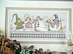 Grass Does Not Grow - Magazine cross stitch pattern - Snowman Road Home  Friends