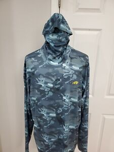 Aftco Fish Ninja Hoodie With Face Shield Blue Camo Mens Size XXL