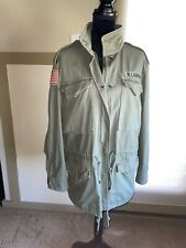 NWT 🔥 Polo Ralph Lauren Cotton American Flag Army Olive Military Field Jacket L