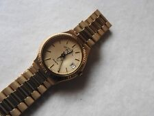 NEW OLD STOCK WEST END WATCH CO SOWAN QUARTZ WATCH FACETED CRYSTAL GOLD DIAL