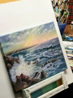"Art,16""/12""evening, Seascape ocean waves landscape, seascapebyLaura"