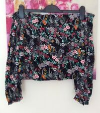 H&M Black Floral Bardot Top, UK Size 12 New
