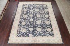 All-Over Floral VEGETABLE DYE Oushak Turkish CHARCOAL Rug Antique Look 10x13
