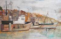 Vintage Impressionist oil painting seascape landscape ships