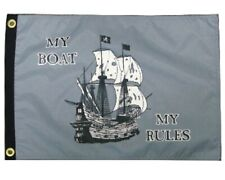"""Pirate Ship My Boat My Rules 12"""" x 18"""" Two Sided 200denier Fade Resist Flag Usa"""