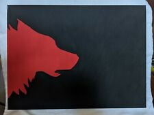 More details for art painting wolf silhouette red / black 30 x 40 cm