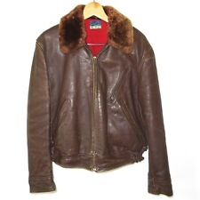 VINTAGE MOTORCYCLE HORSEHIDE LEATHER JACKET WESTERN PONY 1940s BROWN SIZE 42