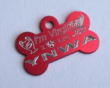 LFC LIVERPOOL DOG TAG NEVER WALK ALONE PERSONALISED RED 32MM BONE PET ID TAG
