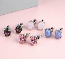 Fashion Elegant Round White Fire Opal 925 Sterling Silver Stud Earrings Women