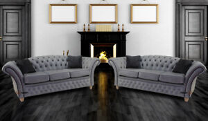 Chesterfield Uk Handmade Churchill 3+3 Seater Sofa Stella Liquorice Real Leather
