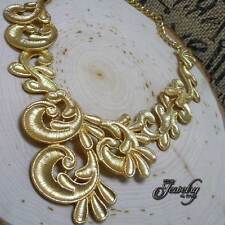"""Gold Plated 18K Lace Necklace Alloy 16-19"""" Flat Collar"""