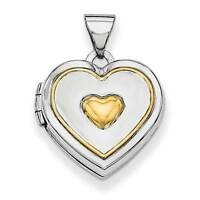 925 Sterling Silver & Gold Plated Polished Heart Shaped Locket Charm Pendant