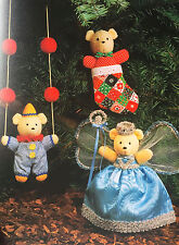 SEWING PATTERN Jean Greenhowe Four Bears Christmas Garland Teddy Bear 13cm tall