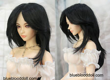 "1/4 bjd 7-8"" doll head black synthetic mohair wig dollfie Iplehouse luts"
