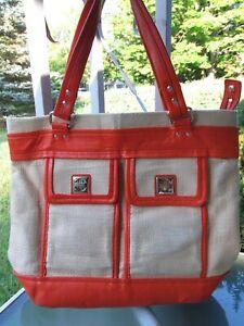 Kate Spade VTG Woven Straw Large Shopper Tote Orange Leather Trim Front Pockets