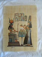 """Egyptian Papyrus Paper Painting Queen Nefertari Offering To Isis 13""""X17"""""""