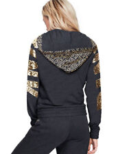 VICTORIA SECRET PINK Gold Bling Dark Gray Full Zip Perfect Hoodie Jacket L NEW
