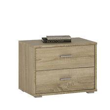 Ferrer Modern Oak Effect 2 Drawer Bedside Table / Cabinet / Lamp 50cm 38cm 35cm
