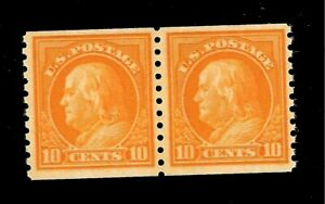 US -Sc# 497 10 c Franklin - Coil Pair - Mint NH - Centered - Pristine